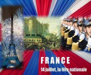 Rompicapo di 14 luglio, la festa nazionale francese per commemorare la presa della Bastiglia il 14 luglio 1789