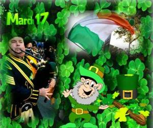 Rompicapo di 17 marzo. Giorno di San Patrizio è la celebrazione della cultura irlandese. Trifoglie usato come un simbolo d'Irlanda