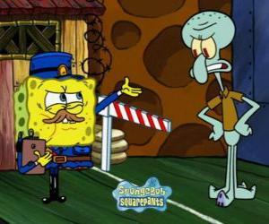 Rompicapo di SpongeBob vestito come un poliziotto chiede un pass per Squiddi Tentacolo