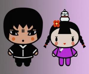 Rompicapo di Abyo e Ching, l'amica di Pucca con la sua gallina Gwon e amico di Garu