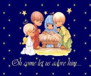 Rompicapo di Adorare Gesù bambino. Precious Moments