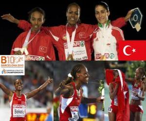 Rompicapo di Alemitu 5000 m campione Bekele, Elvan Abeylegesse e Sara Moreira (2 ° e 3 °) di atletica leggera Campionati europei di Barcellona 2010