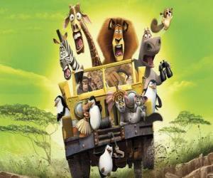 Rompicapo di Alex il Leone guida di una jeep con i suoi amici Gloria, Melman, Marty e altri protagonisti delle avventure