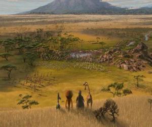 Rompicapo di Alex, Marty, Melman, Gloria osservato le immense pianure dell'Africa