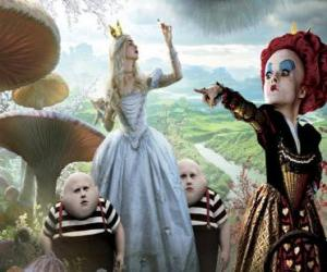 Rompicapo di Alice, insieme con i gemelli e la Regina Rossa