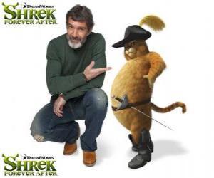 Rompicapo di Antonio Banderas fornisce la voce del Gatto con gli stivali l'ultimo film Shrek e vissero felici e contenti