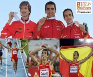 Rompicapo di Arturo Casado campione di 1500 m, Carsten Schlangen e Manuel Olmedo (2 ° e 3 °) di atletica leggera Campionati europei di Barcellona 2010