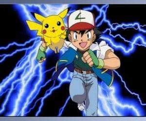 Rompicapo di Ash, addestratore di pokémon, con il relativo primo Pokémon Pikachu