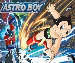 Rompicapo di Astro volare grazie ai suoi superpoteri, le gambe trasformate in getti razzo