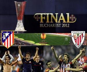 Rompicapo di Atletico Madrid vs Athletic Bilbao. Finale Europa League 2011-2012 nello stadio nazionale a Bucarest, Romania