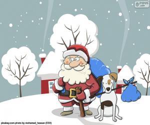 Rompicapo di Babbo Natale accompagnato da un cane