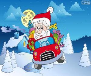 Rompicapo di Babbo Natale alla guida di un'auto