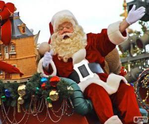 Rompicapo di Babbo Natale che saluta con la mano dalla magica slitta carica di doni