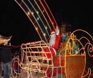 Rompicapo di Babbo Natale che saluta con la mano dalla magica