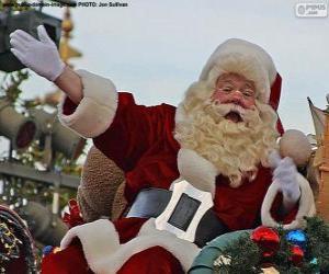 Rompicapo di Babbo Natale con un sorriso saluta i bambini