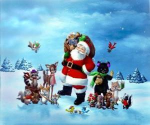 Rompicapo di Babbo Natale distribuendo i regali di Natale