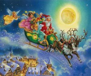 Rompicapo di Babbo Natale in slitta volare sopra le case durante la notte di Natale