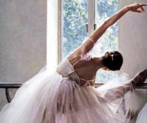 Rompicapo di Ballerina che pratica con la barra