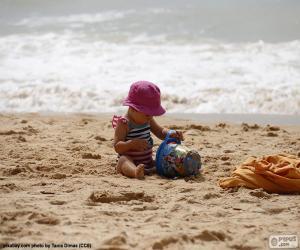 Rompicapo di Bambina sulla spiaggia