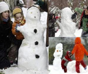 Rompicapo di Bambini che giocano con un pupazzo di neve