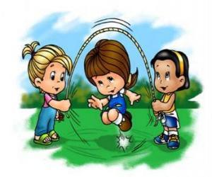 Rompicapo di Bambini che giocano nel salto di corda