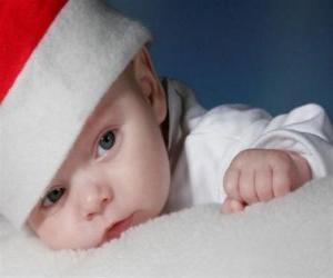 Rompicapo di Bambini con un cappello di Babbo Natale