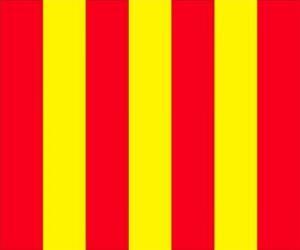 Rompicapo di Bandiera gialla a strisce rosse per avvisare i guidatori che la pista è scivolosa
