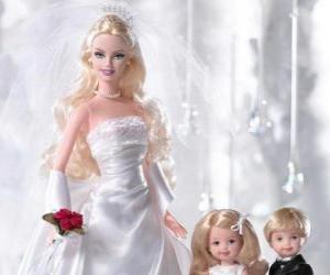 Rompicapo di Barbie è la sposa. Barbie con l'abito da sposa