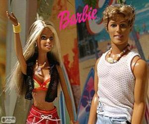 Rompicapo di Barbie e Ken in estate