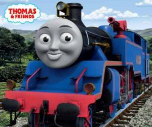 Rompicapo di Belle, la locomotiva grande e coraggiosa azzurro ha due cannoni ad acqua per spegnere gli incendi