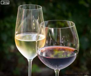 Rompicapo di Bicchiere di vino bianco e rosso