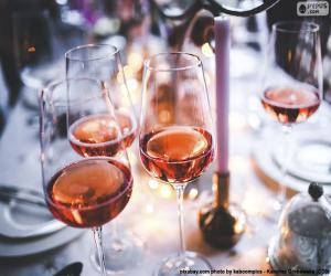 Rompicapo di Bicchieri di vino rosato