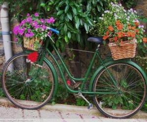 Rompicapo di Bicicletta con ceste piene di fiori