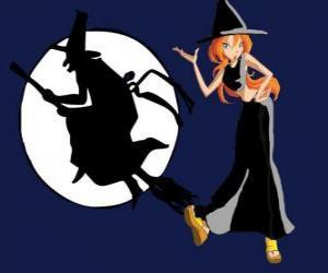 Rompicapo di Bloom, con un costume da strega