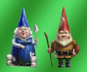 Rompicapo di Blueberry Lady e Lord padre, la madre Gnomeo mattoni rossi di Giulietta e leader dei due giardini rivale