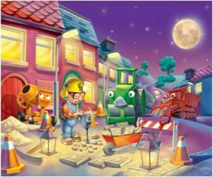 Rompicapo di Bob ei suoi amici a trabajano notte riparazione di una strada urbana
