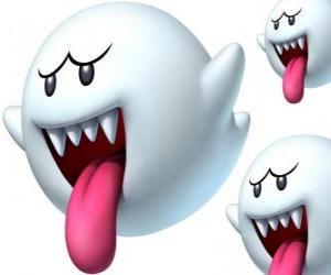 Rompicapo di Boo da gioco Super Mario Bros. Gli Boos sono creature spettrali con denti aguzzi e lunghe lingue