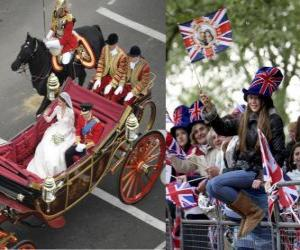 Rompicapo di British Royal Wedding tra il principe William e Kate Middleton, camminando nel trasporto acalamados cittadini