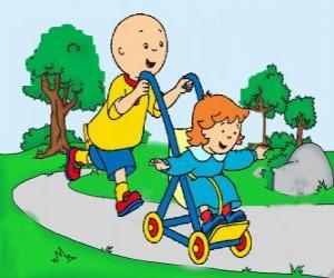 Rompicapo di Caillou che fare una passeggiata con la sorella più piccola nel passeggino