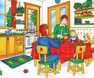Rompicapo di Caillou e la sua famiglia a mangiare in cucina