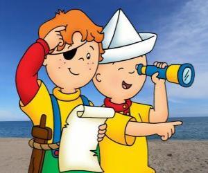 Rompicapo di Caillou e Leo nel gioco degli pirati e alla ricerca del tesoro con la mappa