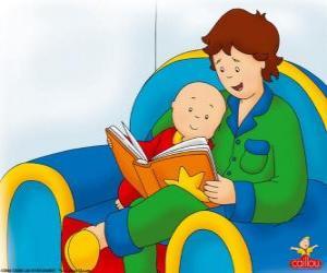 Rompicapo di Caillou legge un libro con suo padre