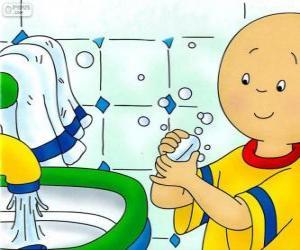 Rompicapo di Caillou si lava le mani