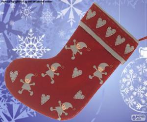 Rompicapo di Calza di Natale decorato con elfi e cuori
