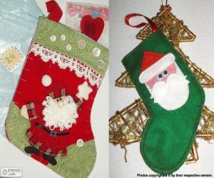 Rompicapo di Calze di Natale decorato con Babbo Natale