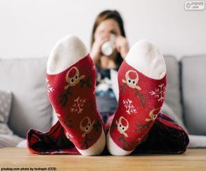 Rompicapo di Calzini con renna di Natale