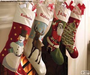 Rompicapo di Calzini natalizie con decorazioni