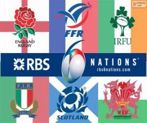 Rompicapo di Campionato Sei Nazioni di rugby con i partecipanti: Francia, Scozia, Inghilterra, Galles, Irlanda e Italia