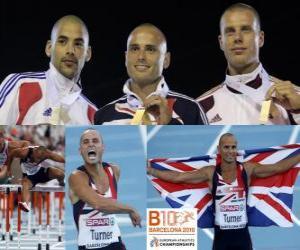 Rompicapo di Campione Andy Turner 110m ostacoli, Garfield Darien e Daniel Kiss (2 ° e 3 °) del Consiglio europeo di Barcellona Athletics Championships 2010