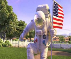 Rompicapo di Capitano Charles Chuck Baker, battendo la bandiera americana a sbarcare sul Planet 51